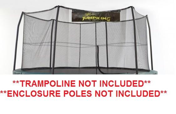 "14' Enclosure Netting With 6 ""Short"" Poles For 5.5"" Springs With JK Logo Model NET14-SP6/5.5JK"